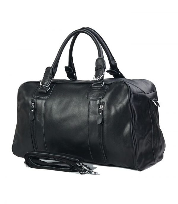 Wholesale High Quality Black Leather Travel Bag